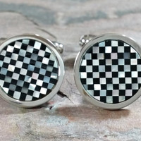 Vintage Cufflinks Black Onyx Mother of Pearl Inlaid Stone Checkerboard Pattern Well Made Polished Silver Rhodium Plate Preserves Silver