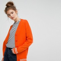 E.L.K Relaxed Boyfriend Cardigan With Sports Stripe at asos.com