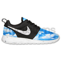 Nike Roshe Run Black White Marble Up in the Sky Print Custom