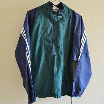 Adidas Green Blue Windbreaker 90s Vintage Oversized L