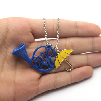 MS0982 How I Met Your Mother The Blue French Horn Necklace Pendant yellow umbrella with Silver Chain TV Jewelry women jewelry