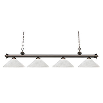 Z-Lite 200-4OB-AWL14 Riviera Olde Bronze Four-Light Pendant with Angle White Linen Shade