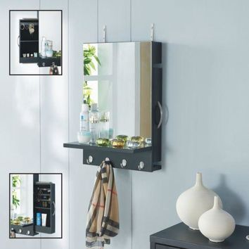 Mirror Jewelry Cabinet Wall Armoire Storage Bedroom Bathroom Modern Black NEW