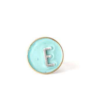 Mint initial ring personalized