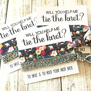 Set of 5 Bridesmaid Proposal | Will You Help Me Tie The Knot | Hair Tie Favors (Black Floral, Silver Glitter)