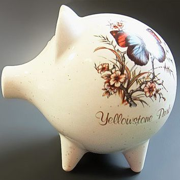 Vintage Piggy Bank Ceramic Butterfly Flowers Yellowstone Park Souvenir