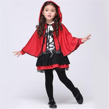 Free shipping girls little red riding hood cosplay costume Dresses and  Cloak Halloween costume for children