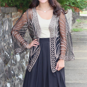 Just Meshin' Around Jacket {Black+Gold}