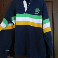 vtg BARBARIAN RUGBY WEAR Irish Shamrock Jersey long-sleeve polo shirt   large- notre dame