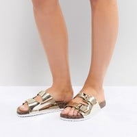 Park Lane Wide Fit Double Buckle Flat Sandals at asos.com