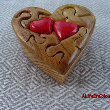 Unique handmade wooden heart box for wedding gift, marriage ring box, asking her to marry ring box, jewellery box, earring box.