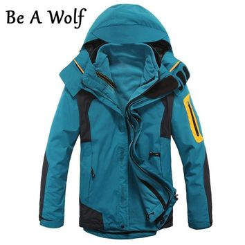Be A Wolf Hunting Jacket Men's Inner Fleece Waterproof Outdoor Sports Warm Coat Camping Trekking Skiing Male Hiking Jackets