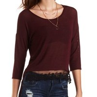 High-Low Ribbed Top with Lace by Charlotte Russe