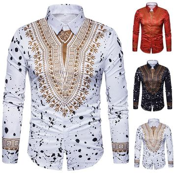 Men's Casual African Print Pullover Long Sleeved T-shirt Top Blouse