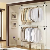 Garment Closet Organizer Kit System Adjustable Rod Rack Storage Shelf Dorm Suit