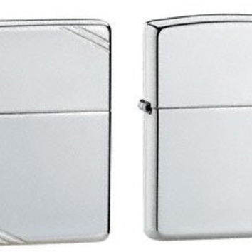 Zippo Lighter Set - High Polish Finish Sterling Silver and 1937 Vintage Replica High Polish Finish Sterling Silver Pack of 2