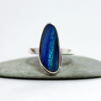 Australian opal Sterling Silver Ring/ Cocktail Ring/ Blue Gemstone Ring/ Stacking Silver Ring