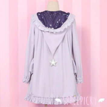 Kawaii Witch Hat Purple Galaxy Star Long Coat Free Ship SP141569 from SpreePicky