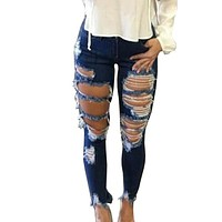 New 2018 Skinny Jeans Women Denim Pants Holes Destroyed Knee Pencil Pants Casual Trousers Jeans Stretch Ripped Jeans
