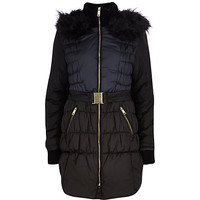 River Island Womens Black color block longline padded jacket
