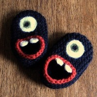 Wool Monster Slippers, size 3, 6 or 12 months