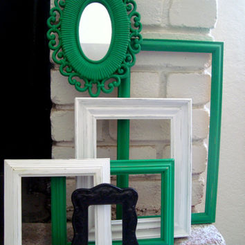 Green, White, Black Set of 5 Ornate Frames with Mirror, Kelly Green, Vintage Open Frame Gallery, Wall Gallery, UpCycled Frame Set, Retro
