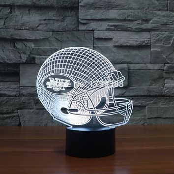 New York Jets 3D Night Light NFL American Football Club Lamp USB LED Lighting Table Decor Bedside Nightlight by Touch control