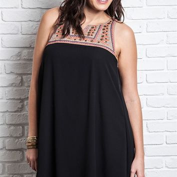 Umgee Plus Black Sleeveless Babylon Dress with Embroidered Design