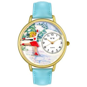 SheilaShrubs.com: Unisex Ice Skating Baby Blue Leather Watch G-0810024 by Whimsical Watches: Watches