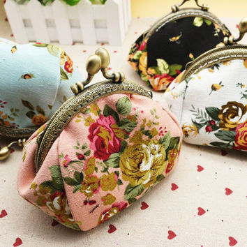 Excellent Quality flower printing women coin purse,lady change purse,retro vintage coin wallet,Ladys money bag wallet Hasp Purse
