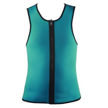 Men Waist Trainer Vest Neoprene Sweat Suits Corset Body Shaper Zipper Tank Top Shirt
