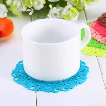 Silicone Round Cup Bowl Insulation Mat Table Decoration Durable Table Non-Slip Potholder Tableware Pad