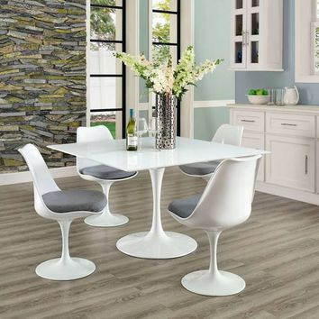 Modway Square Wood Top Dining Table in White