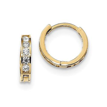 14K Yellow Gold Madi K Round/Square CZ Reversible Hinged Hoop Earrings