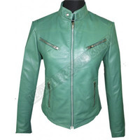 New Handmade stylish Women's Tab Collar Green Biker Leather Jacket