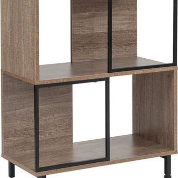 """Paterson Collection 26""""W x 31.5""""H Rustic Wood Grain Finish Bookshelf and Storage Cube"""