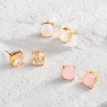 Rose Stud Earrings Set of 3