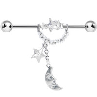 Handcrafted Clear CZ Star and Man on the Moon Industrial Barbell | Body Candy Body Jewelry