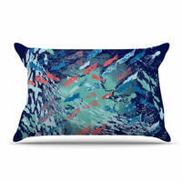 "Frederic Levy-Hadida ""Underwater Life - Blue"" Blue Fish Pillow Case"