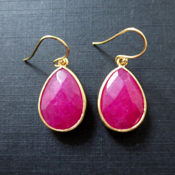 Cherry - lovely faceted ruby color jade gem earrings, simple modern dangle, drop, hot pink jewelry