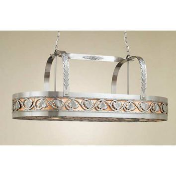 Hi-Lite H-82Y-D-11-W-CI Leaf Satin Steel Lighted Pot Rack with Copper Insert