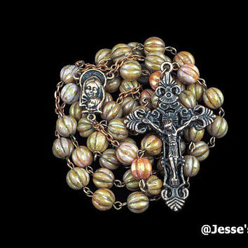 Catholic Rosary Rose Gold Topaz Fluted Melon Copper Traditional Rustic Glass Bead Five Decade Catholic Gift