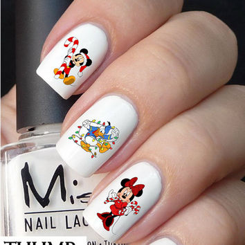 50pc disney christmas nail decals nail decal nail art nail sticker - Disney Christmas Nails