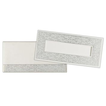 White and Silver Padded Invitation Card-KNK4744