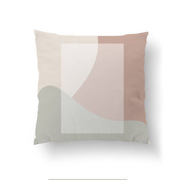 White Rectangle, Cushion Cover, Mid Century, Throw Pillow, Simple Design, Decorative Pillow, Abstract Shapes, Pink Gray Pastel, Home Decor