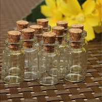 10 Cute Mini Cork Stopper Glass Bottles Vials Jars Containers (Size: 2ml) [7981220359]
