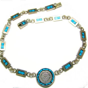 Turquoise Mayan Calendar Necklace Mexican Sterling Choker