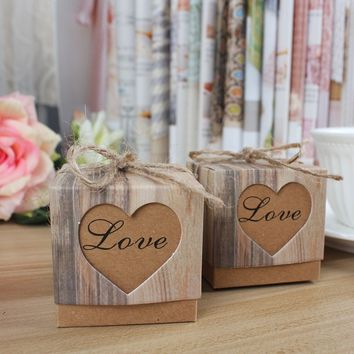 Romantic Heart Vintage Kraft Candy Box with Burlap Twine Chic for Wedding Decoration 50pcs/lot(Mini)