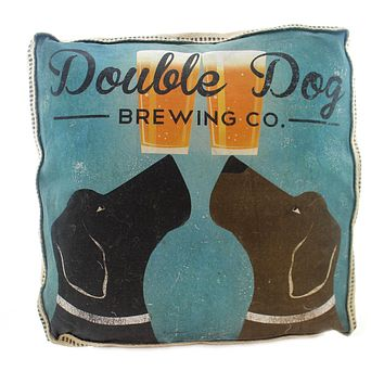 "Home Double Dog 20"" Burlap & Cotton Pillow Accent Pillow"