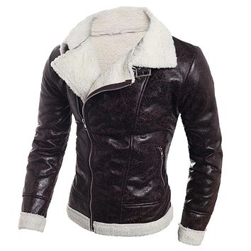 Leather Jacket Coats Imported Casual Men Fur Coat PU Leather Trench Coats